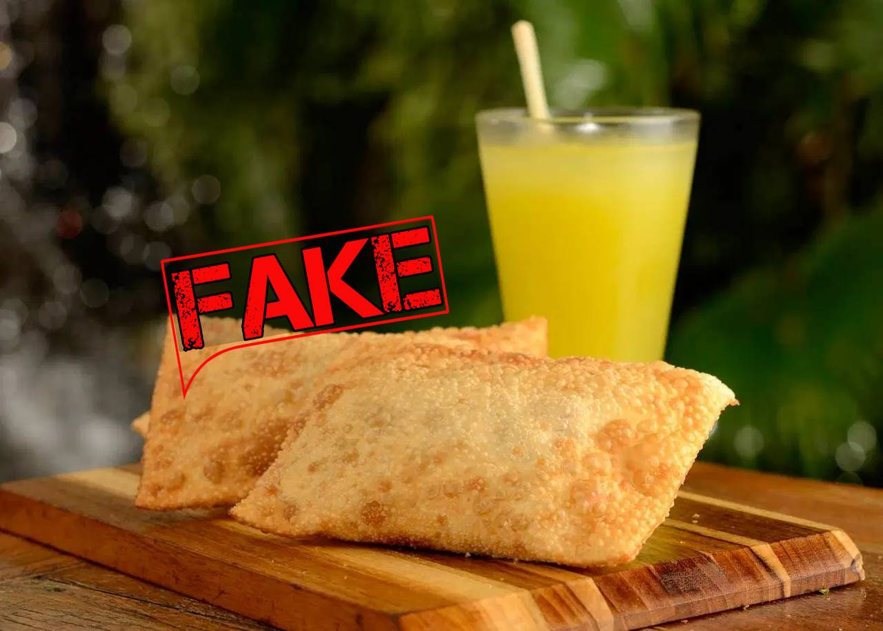 É #Fake que comer pastel com caldo de cana pode curar coronavírus