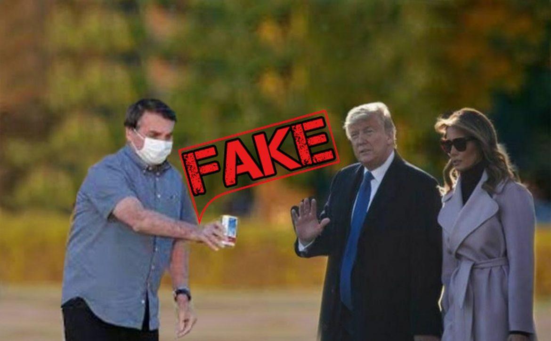 É #Fake imagem de Bolsonaro oferecendo Cloroquina a Trump