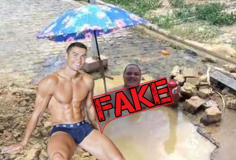 É #Fake imagem de Cristiano Ronaldo no Brasil bebendo litrão em poça d'água