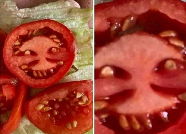 Em pânico, mulher alega ter visto o Diabo em tomate