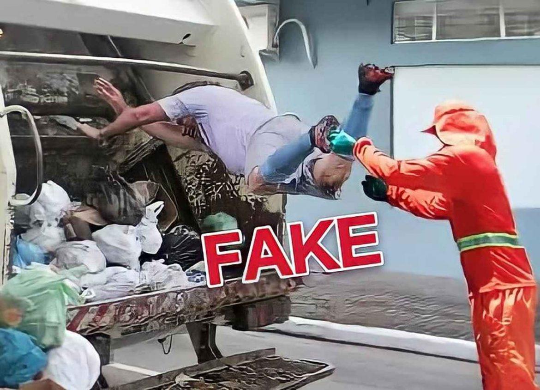 Imagem de gari jogando Bolsonaro no caminhão de lixo é #Fake