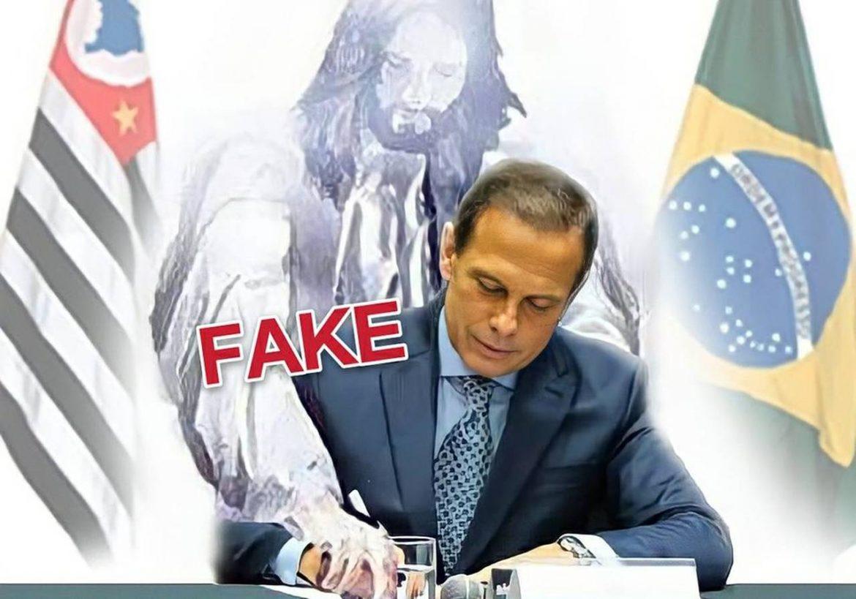 É #Fake imagem que mostra Jesus Cristo assinando papéis da vacinação com Doria