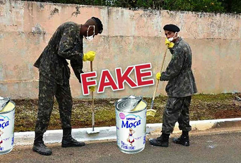 É #Fake imagem de militares pintando meio-fio com leite condensado