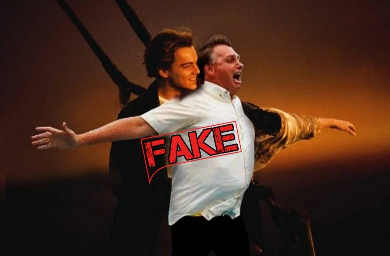É #Fake imagem de Bolsonaro no Titanic abraçando Leonardo DiCaprio