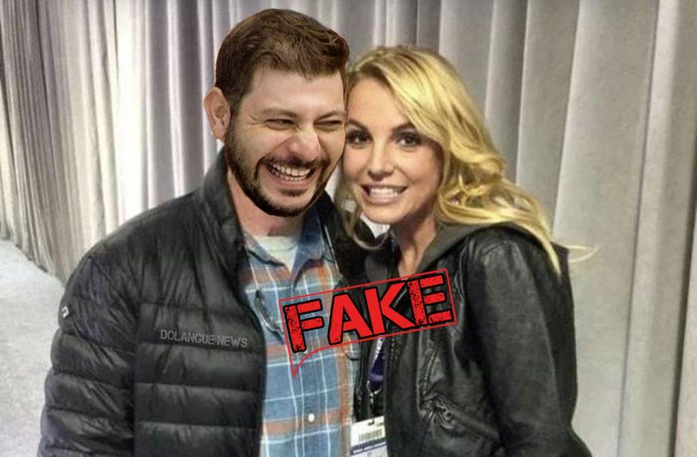 É #Fake imagem do participante Caio do BBB ao lado de Britney Spears