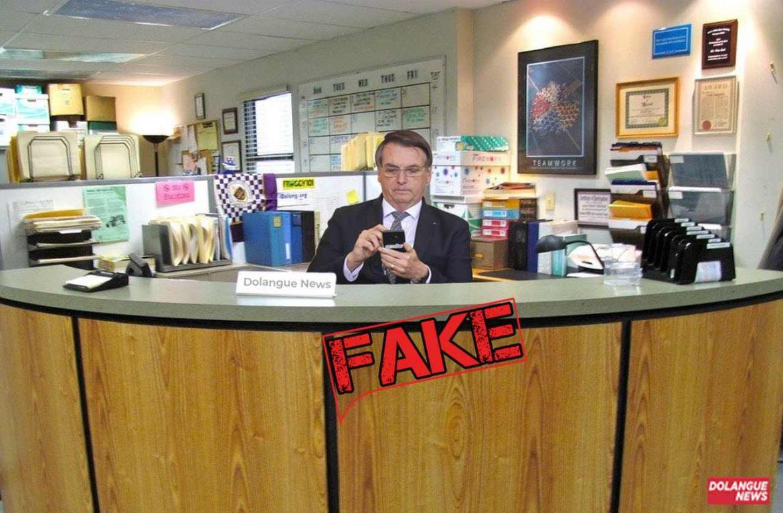 É #Fake imagem de Bolsonaro atendendo telefone na empresa Dunder Mifflin
